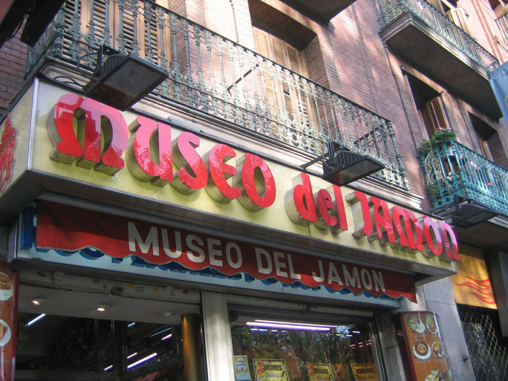 Shop exterior of, Museo del Jamon in Europe.