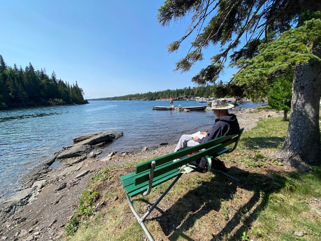 Relaxation by the shore at Isle Royale.