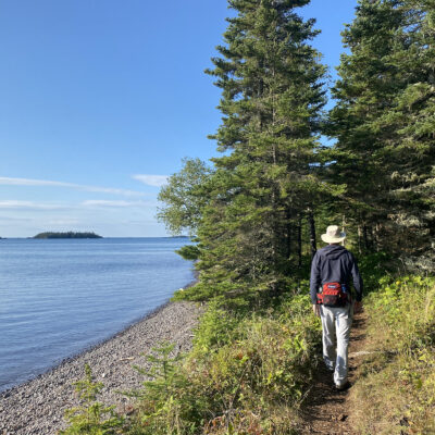 Hiking Suzy's Cave Trail in Isle Royale