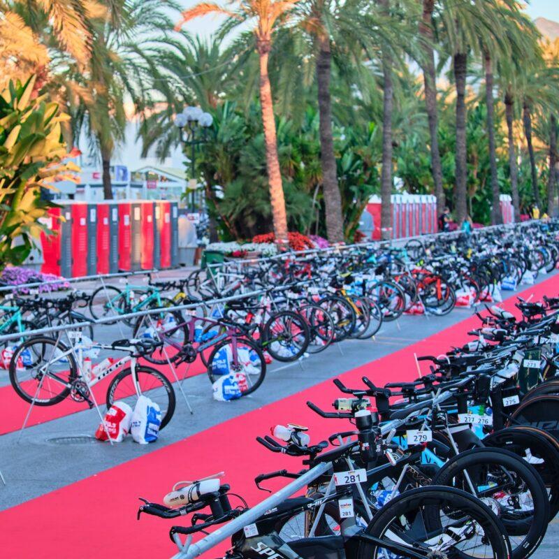 Bikes at an Ironman triathlon