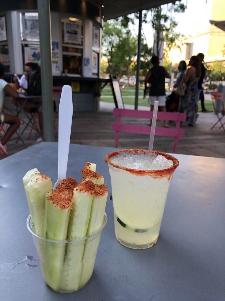 Cucumber sticks and cucumber lemonade at La Placita Café, El Paso, Texas.