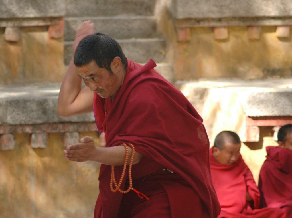 Monk debating at Sera Monastery.