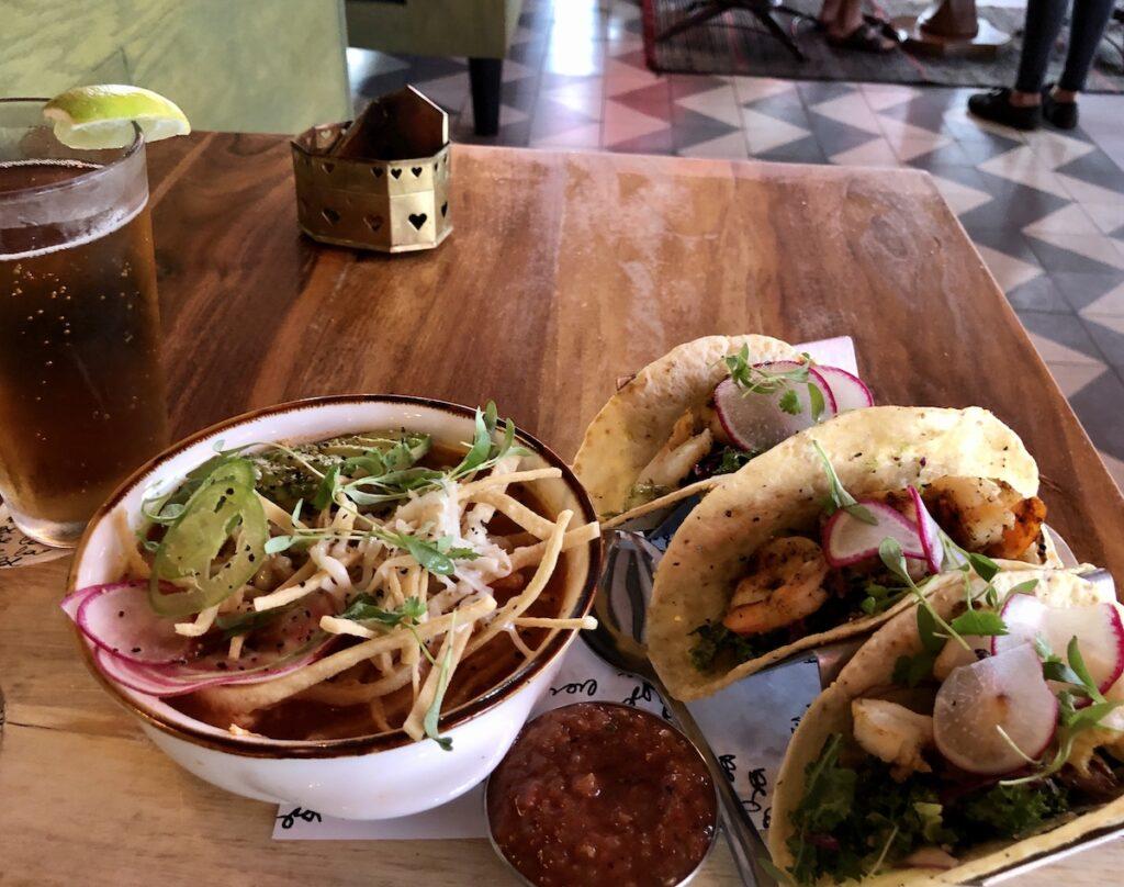 Chicken tortilla soup and shrimp tacos at Mamacita's in El Paso, Texas.