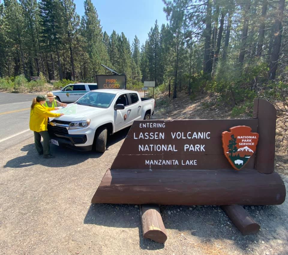 National Park Service personnel at work during the Dixie Fire