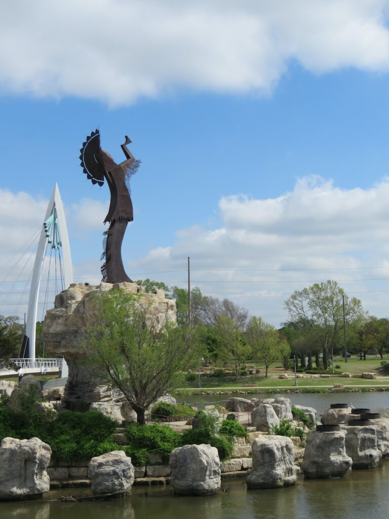 Keeper of the Plains statue near the Mid-America All-Indian Museum in Wichita