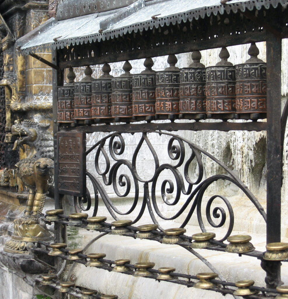 Prayer wheels at Swayambhunath; Kathmandu, Nepal