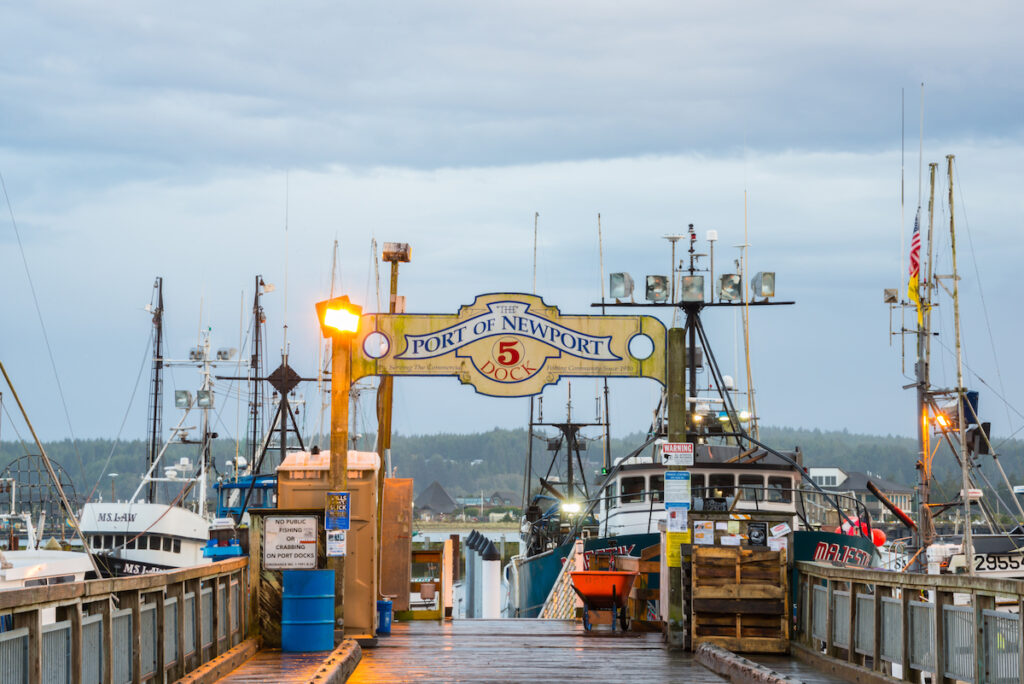 Fishing vessels on Newport Pier; Newport, Oregon