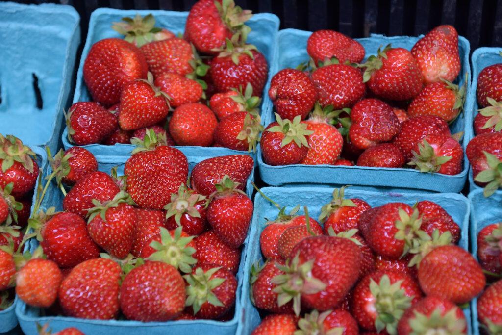 Fresh organic strawberries at the farmers market in Olympia, Washington
