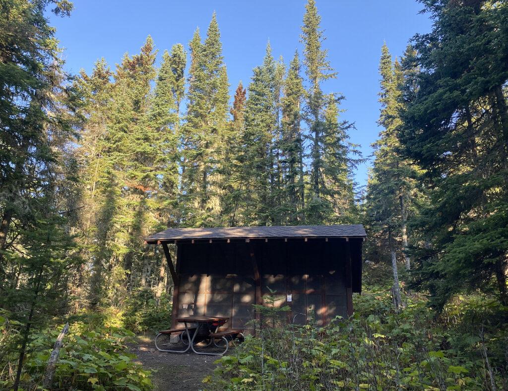 Camping shelter at Isle Royale.