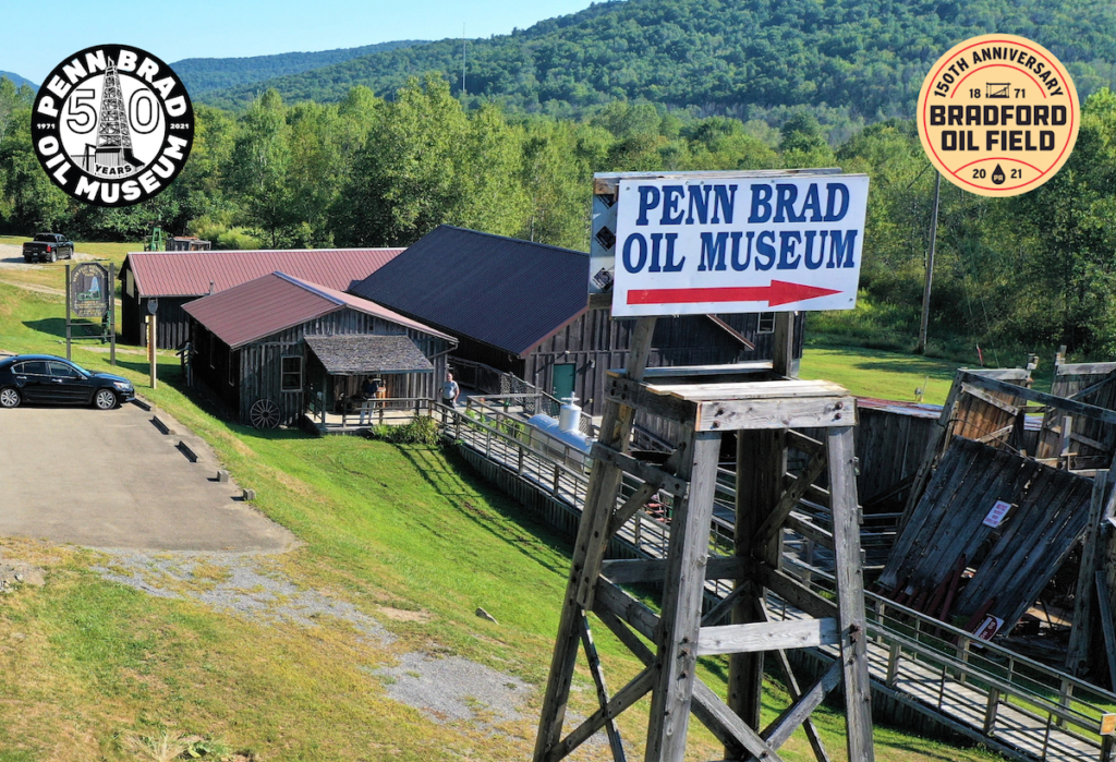 Exterior of the Penn Brad Oil Museum and sign.