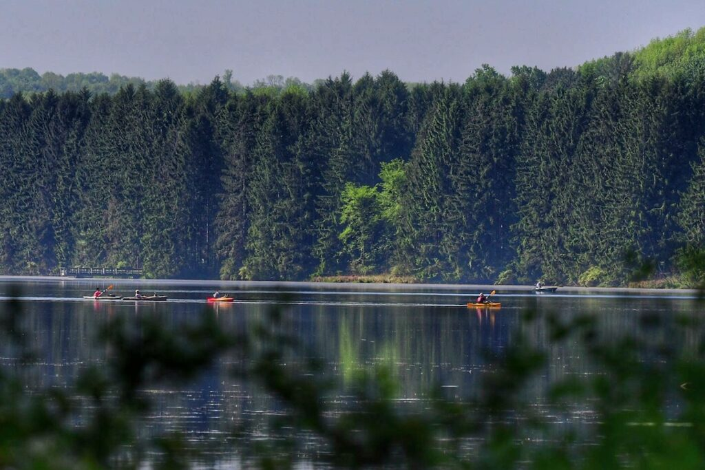 Kayakers on the lake at Hill Creek State Park, Pennsylvania.