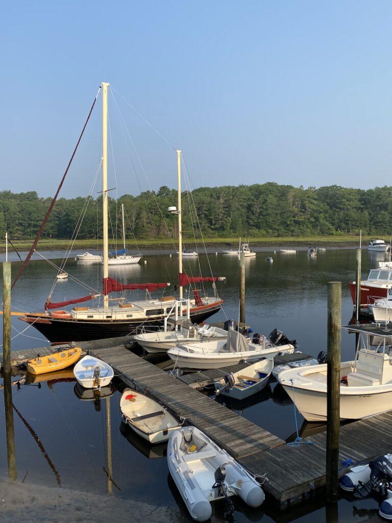 The Nonantum marina is full of various boats.