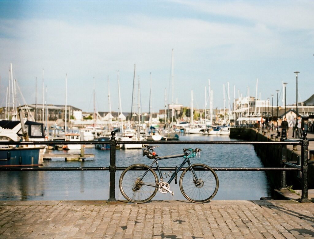 Bicycle near a marina in Plymouth, England.