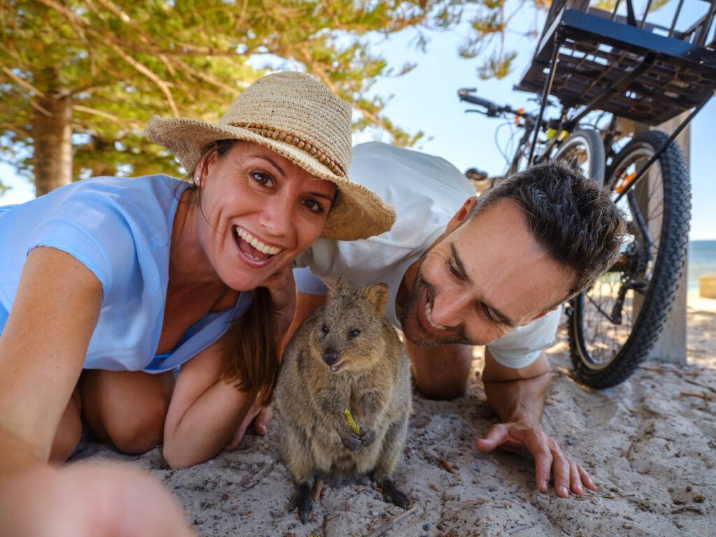 Couple taking selfie with Quokka (Setonix brachyurus) on Rottnest Island.