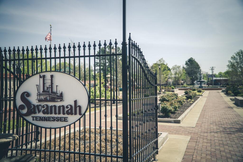 Tennessee Street Park with iron Savannah Gate in Savannah, Tennessee.