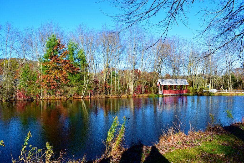 Lake in the Pocono Mountains, Pennsylvania in the fall.