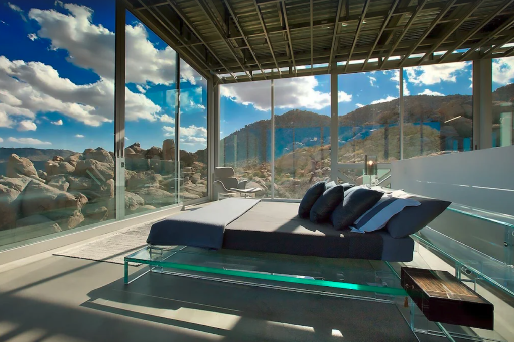 Glass bed in the Master suite at the Invisible House in Joshua Tree