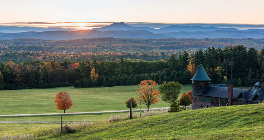 Camel's Hump mountain and the Champlain Valley seen from Shelburne Farms, Vermont.