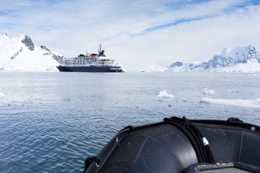 Ship docked at Paradise Bay, Antarctica.