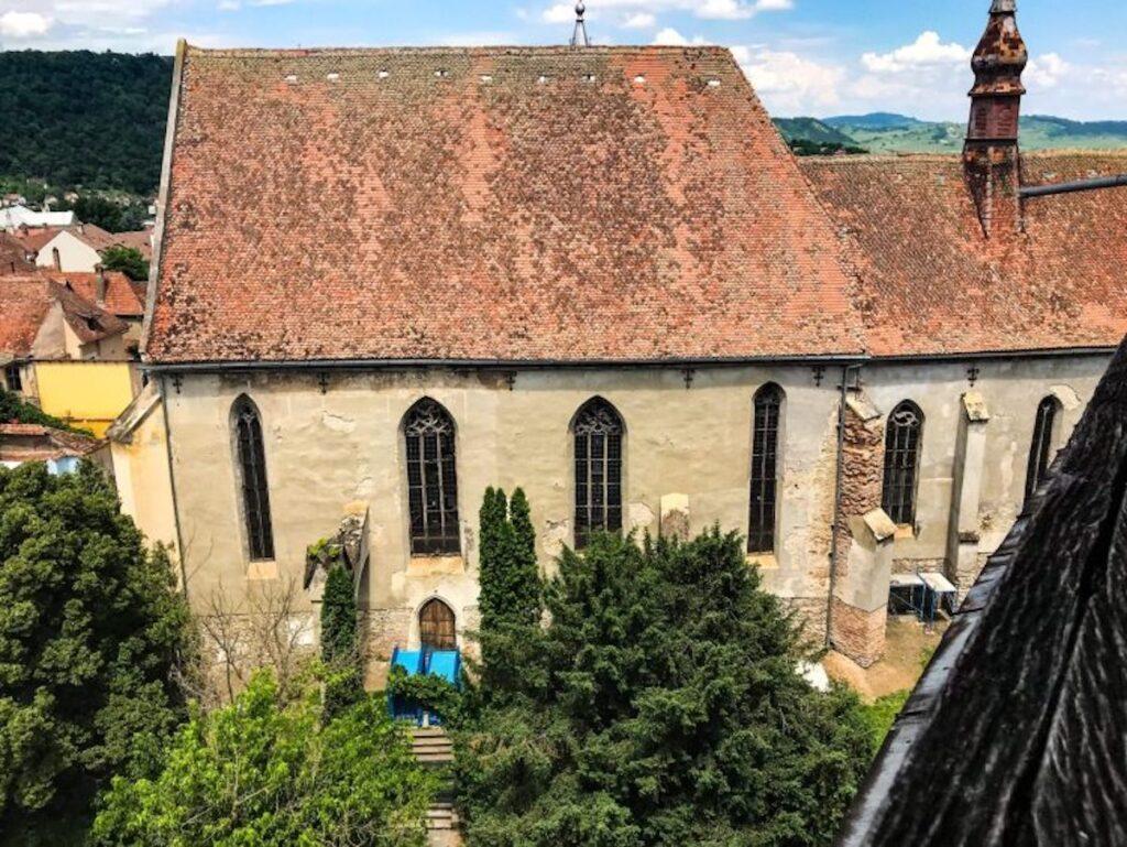 Medieval monastery church in Sighișoara, Romania.