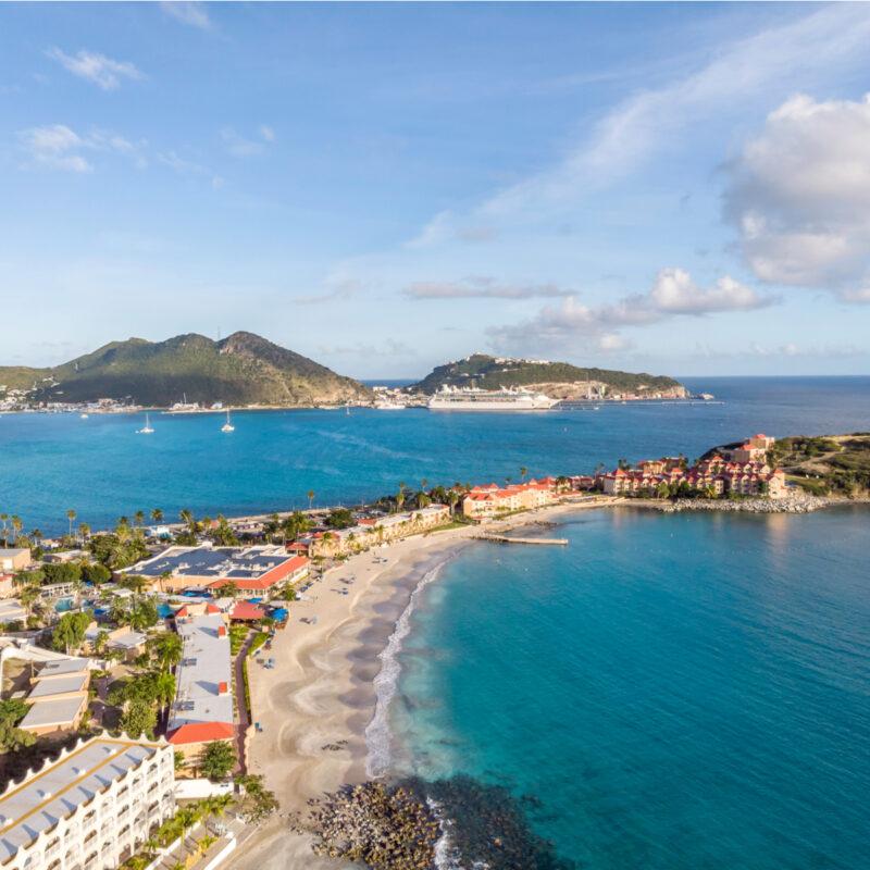 The Caribbean island of Sint Maarten.