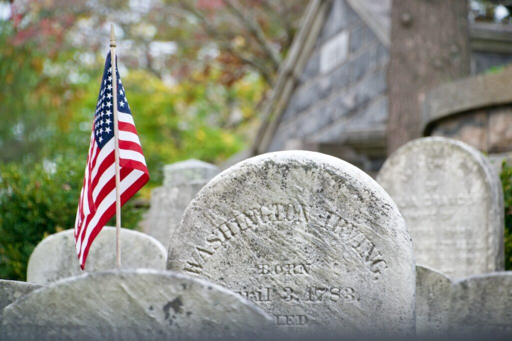 The tombstone of Washington Irving, Sleepy Hollow Cemetery, Sleepy Hollow, New York.