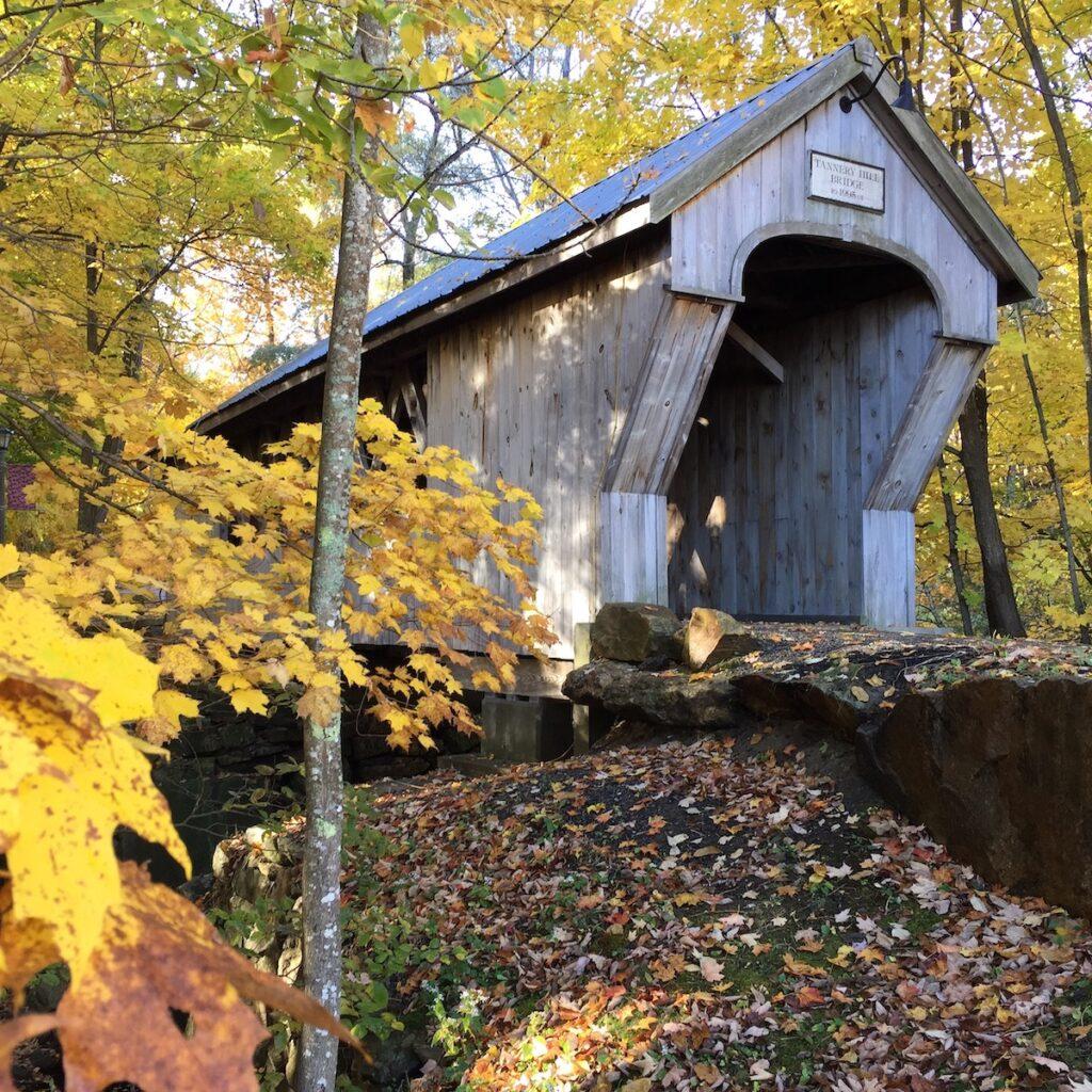 Tannery Hill Bridge in Gilfrod, New Hampshire.