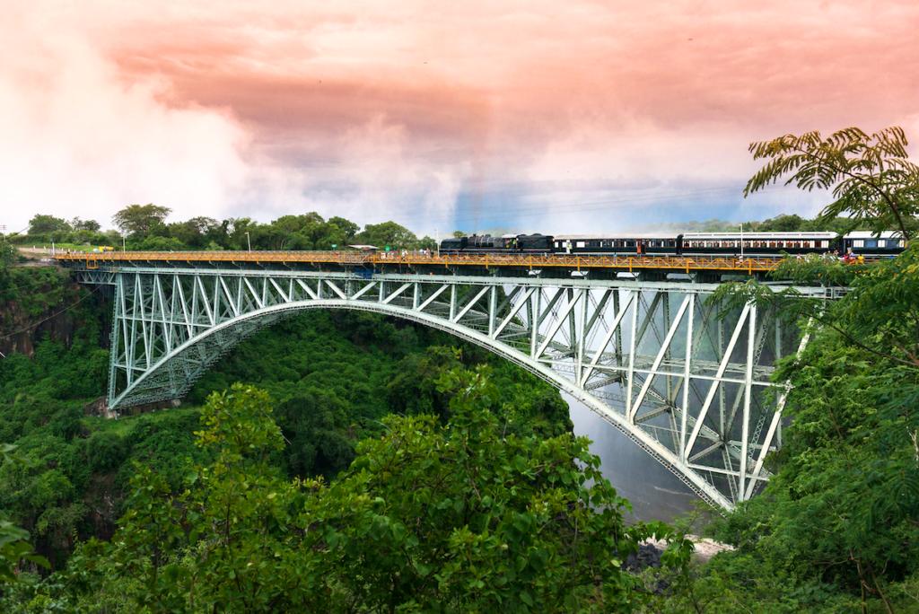 The Royal Zambezi Express on the Victoria Falls Bridge, Zambia.
