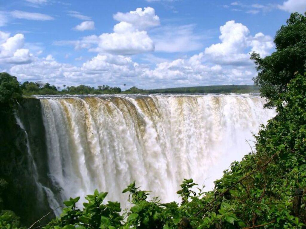 The main falls at Victoria Falls, Zambia.
