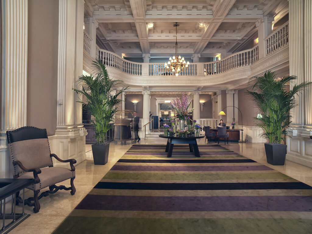 The lobby of the Balmoral hotel