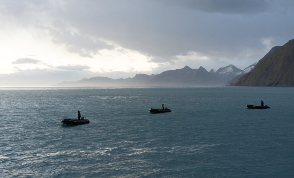 Three zodiac boats returning from an expedition on the Atlantic Ocean.