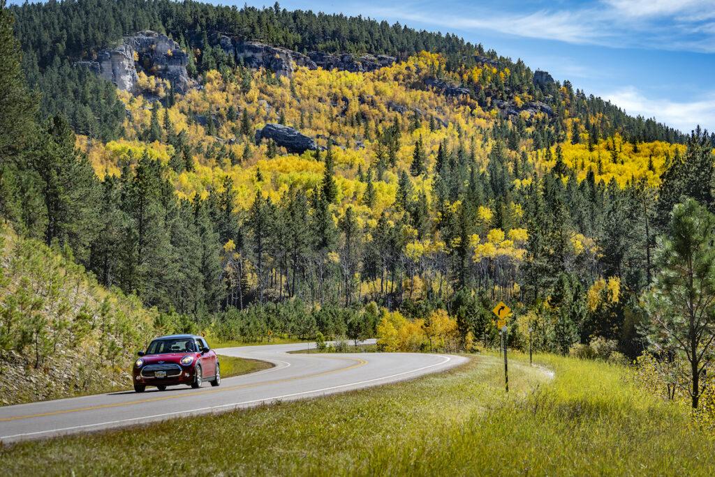Vanocker Canyon Road in Sturgis, South Dakota, during fall.