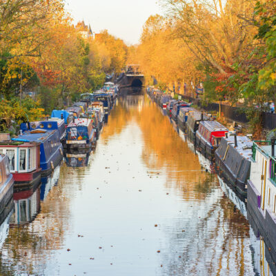 Barges on canal in West London