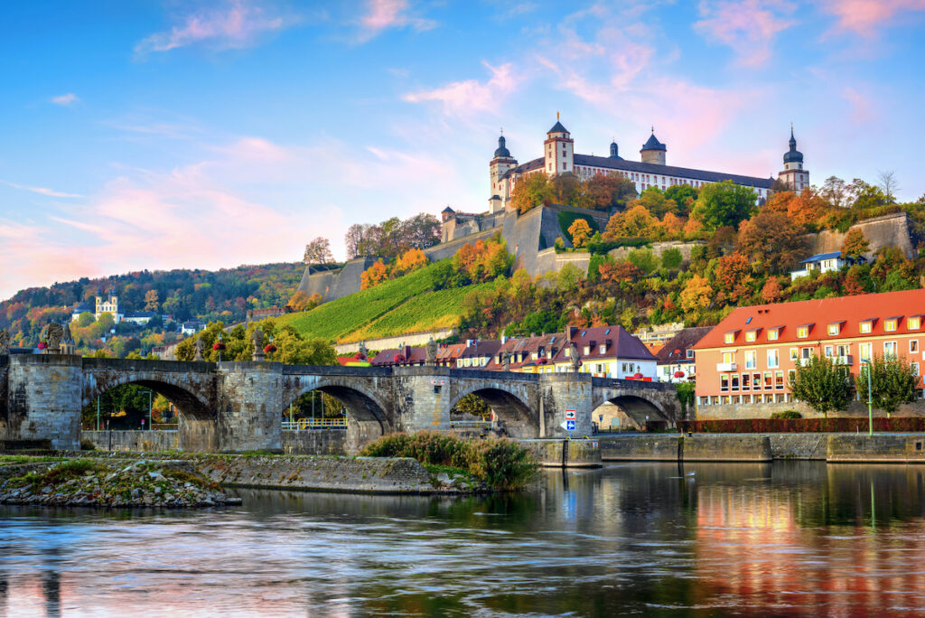 Marienberg Fortress and the Old Main Bridge in Wurzburg, Germany