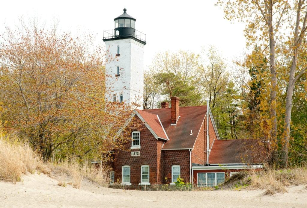 Presque Isle Lighthouse, located near the Presque Isle State Park, Erie, Pennsylvania.