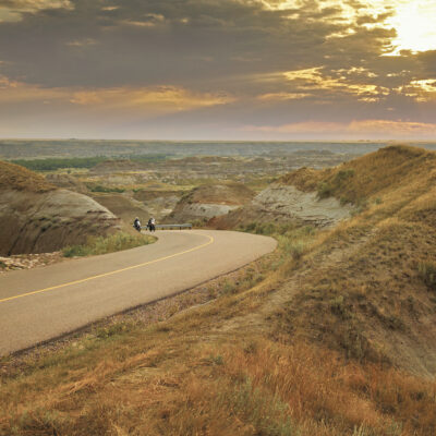 motor bike trip at Dinosaur Provincial Park in the Canadian Badlands, Southern Alberta