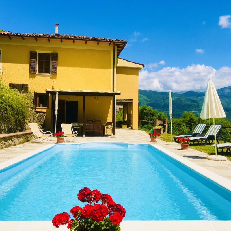 House and pool view of $470,000 Tuscany villa being raffled off in January.