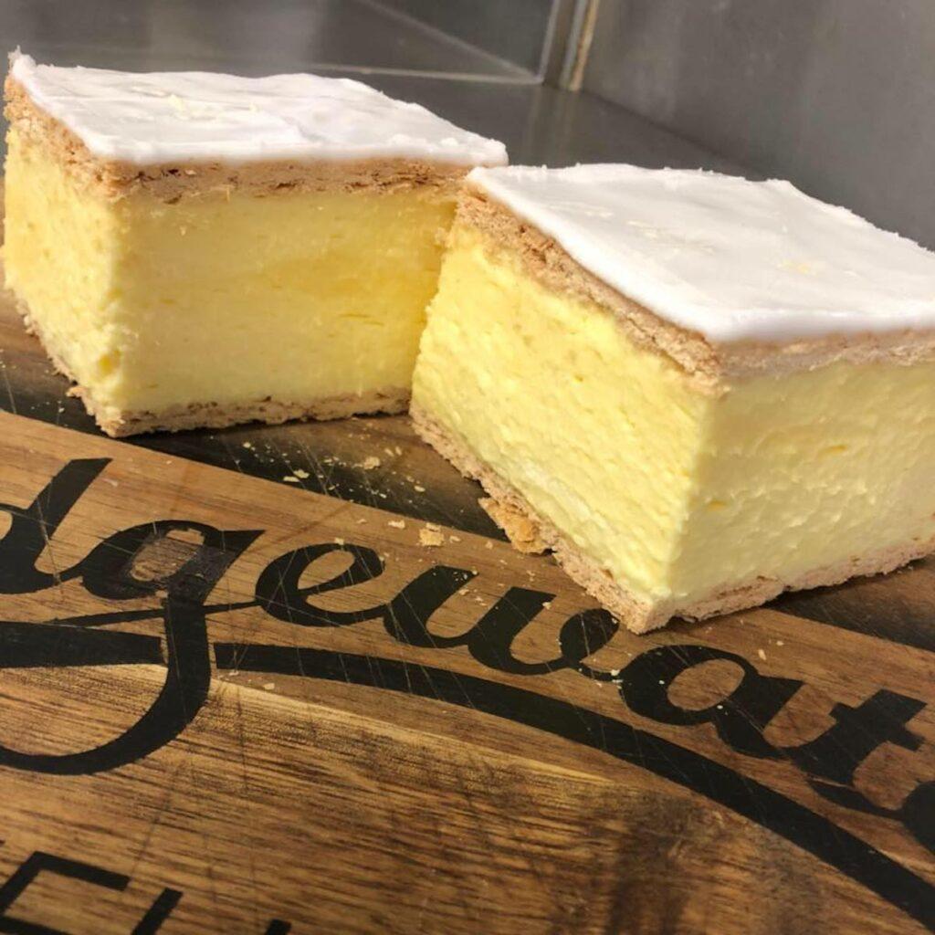 Award winning vanilla slice cake at Bridgewater Bakery.
