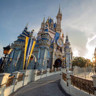 Cinderella's Castle decorated for Disney's 50th anniversary celebration.