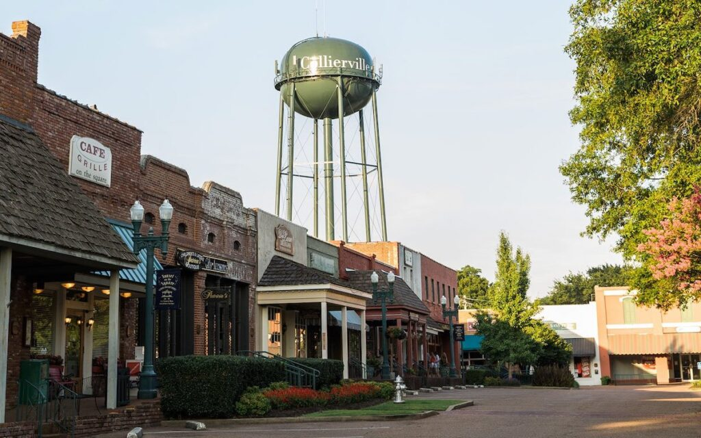 Collierville Street with water tower.