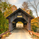 Gold Brooke Covered Bridge in Stowe, Vermont.
