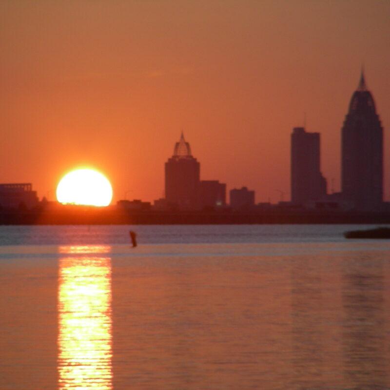 Sunrise over Mobile Bay, Alabama.
