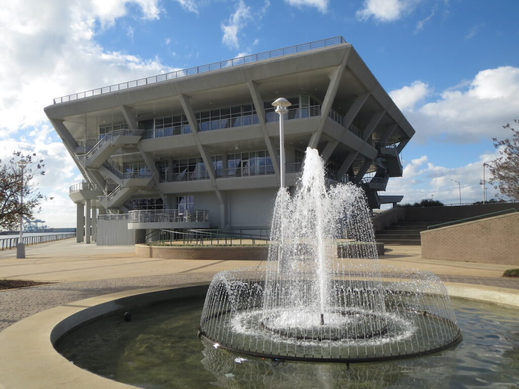 Resembling the bow of a ship, the GulfQuest Maritime Museum in Mobile, Alabama.