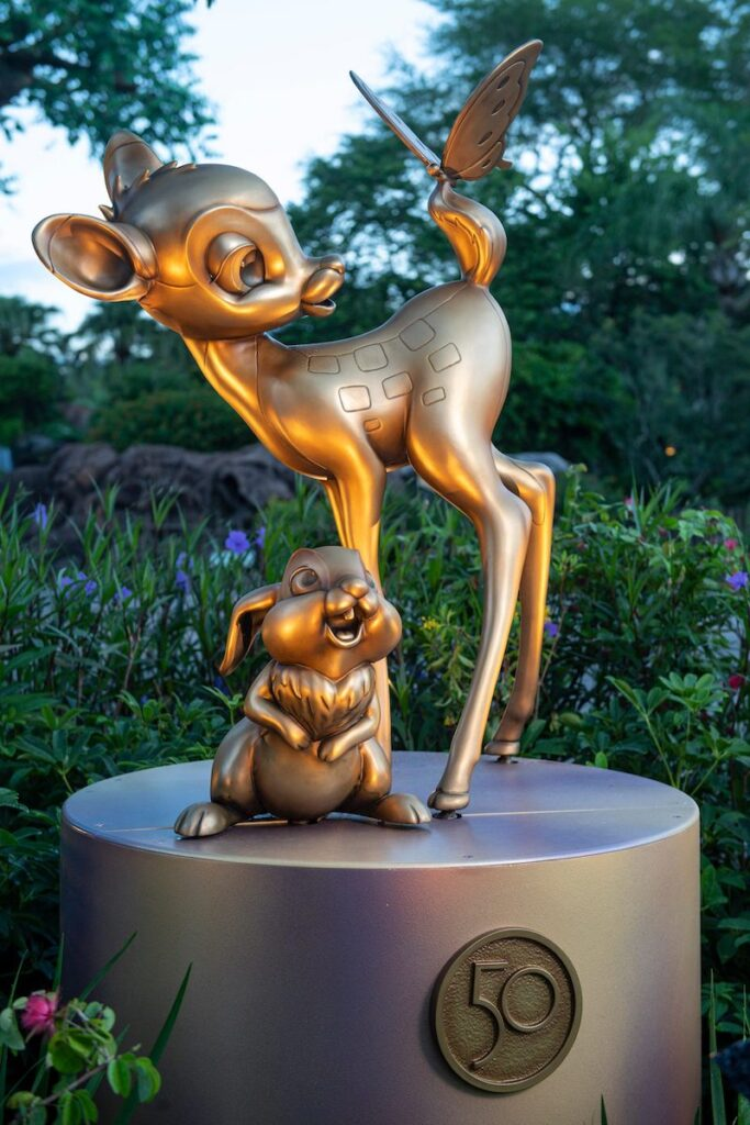 Bambi and Thumper as gilded statues, a part of Disney's 50th anniversary 'Fab 50 Character Collection.'
