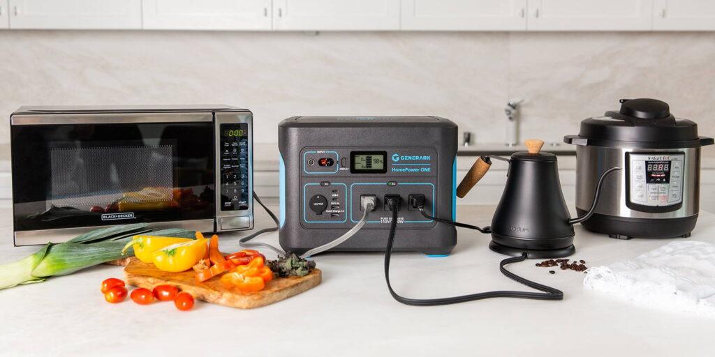 Generark solar generator powering kitchen appliances