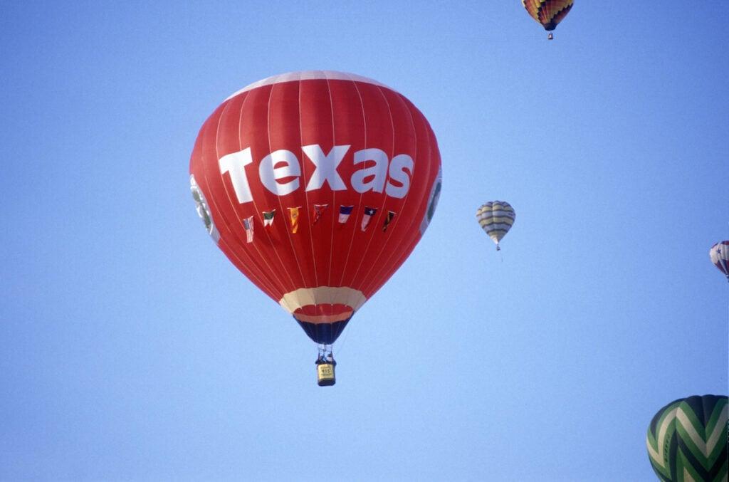 Hot air balloons over Austin, Texas.