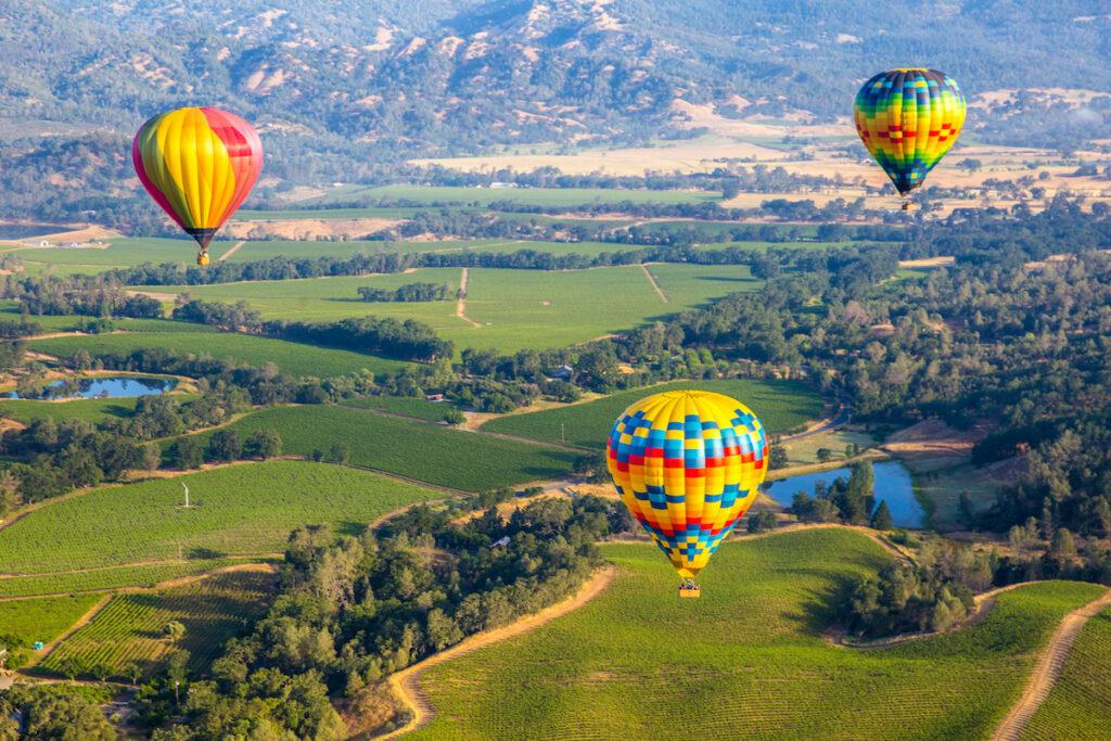 Hot air balloons over Napa Valley, California.
