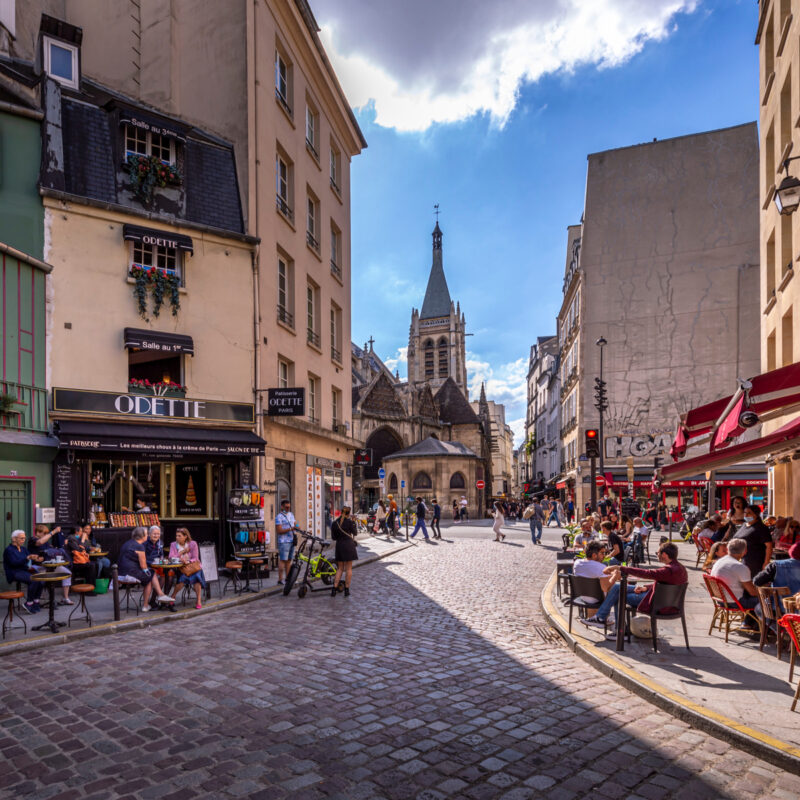 Street in the Notre-Dame district of Paris, June 2021.