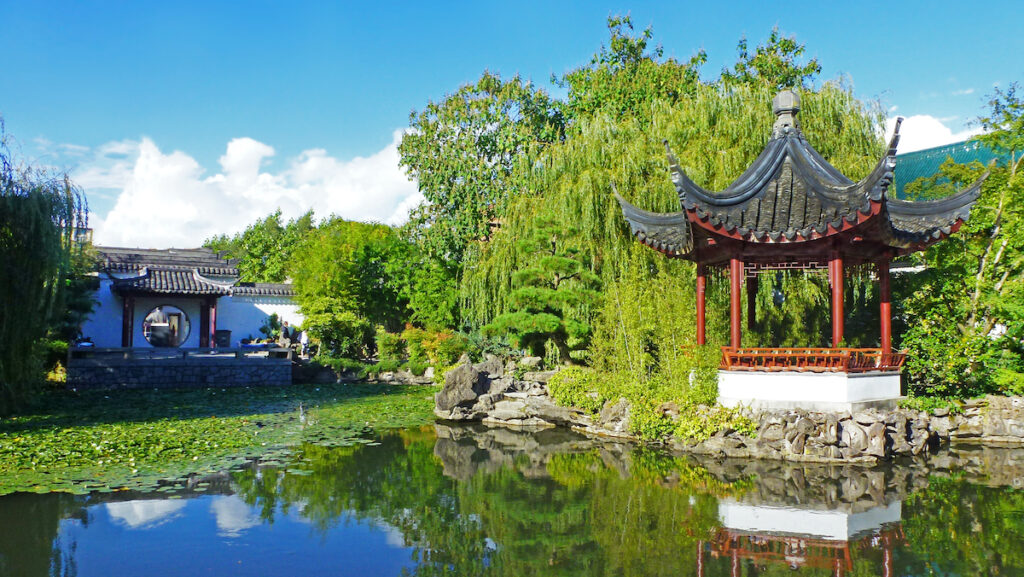 Dr. Sun Yat-Sen Classical Chinese Garden, Japanese garden, the view on the pond and traditional pagoda.