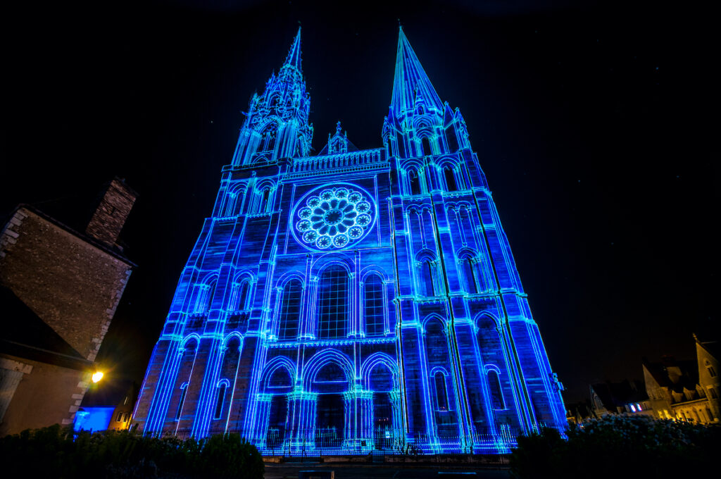 Chartres Cathedral Eure et Loir France, photo taken during the festival of lights.